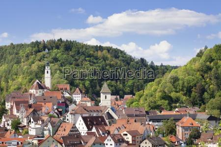 old town with stiftskirche heilig kreuz
