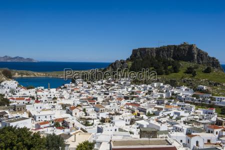 panoramic view of beautiful lindos village