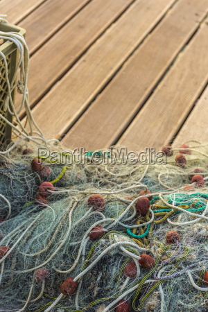 fishing nets old town harbour piran