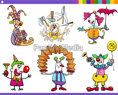 zirkus clown charaktere gesetzt