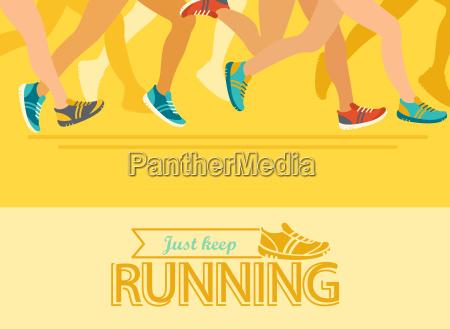 summer running marathon concept