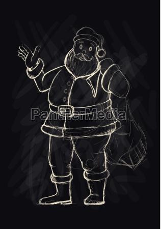 vector hand drawn sketch santa claus