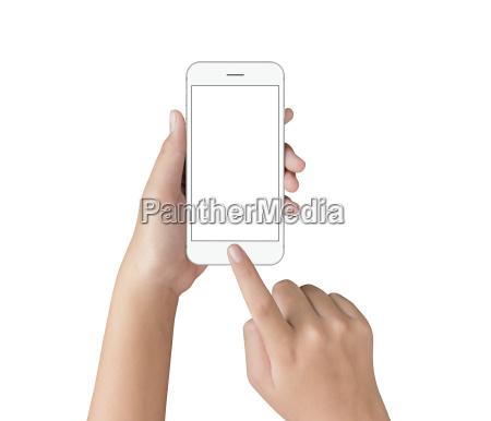 hand touching on white phone screen