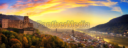 heidelberg shortly after sunset panorama with