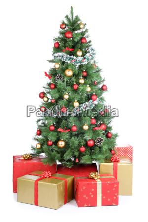weihnachtsbaum weihnachtsgeschenke geschenke weihnachten gold kugeln