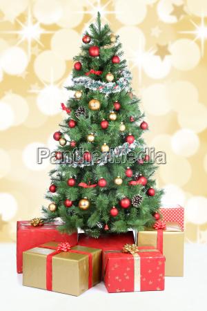 christmas tree christmas decoration snow gold
