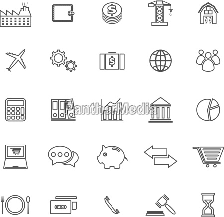 economy line icons on white background