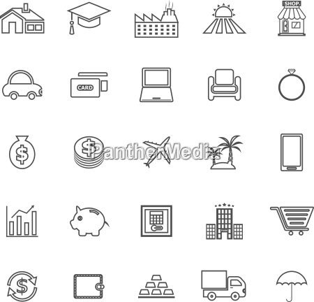 loan line icons on white background