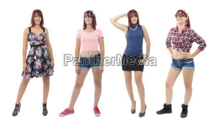 schoenes maedchen mit verschiedenen kleidern