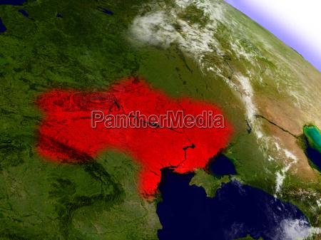 ukraine aus dem weltraum rot hervorgehoben