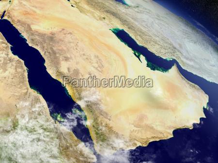 arabische halbinsel aus dem all