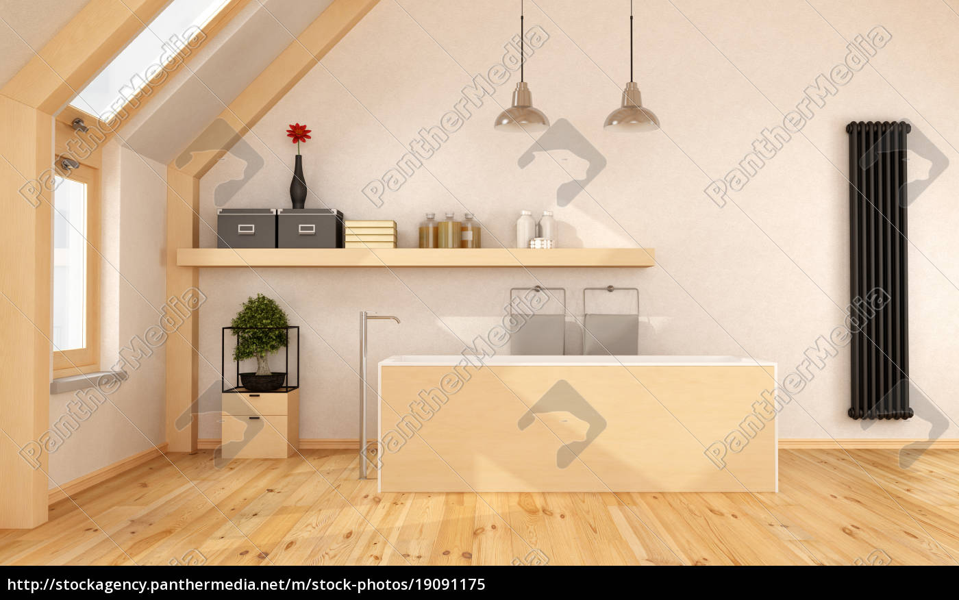 holz bad im dachgeschoss stockfoto 19091175. Black Bedroom Furniture Sets. Home Design Ideas