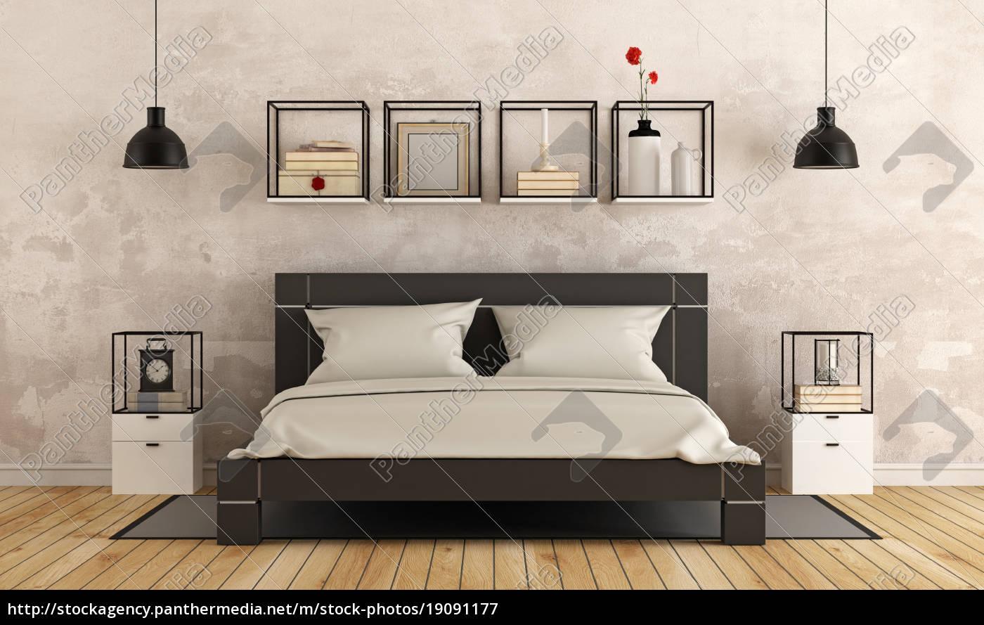 Modernes Schlafzimmer Mit Alten Mauer Lizenzfreies Bild 19091177 Bildagentur Panthermedia