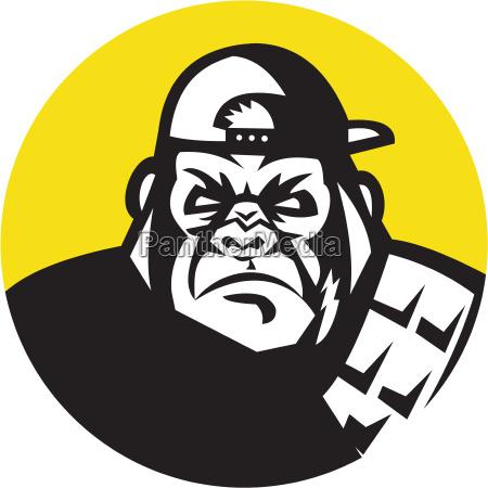veraergerte gorilla kopf baseballmuetze kreis retro
