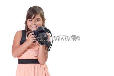 smiling long hair little girl is