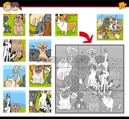 jigsaw puzzle task with dogs