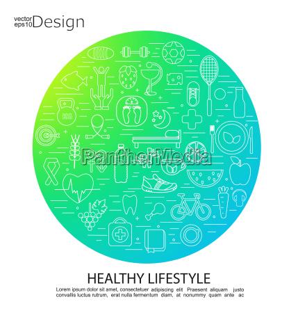 gesunde lebensweise konzept symbole