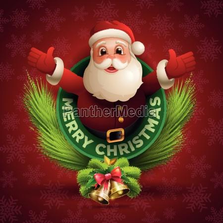 happy santa claus giving a big