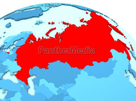 russland in rot auf blau globus