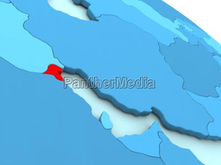 kuwait in rot auf blau globus