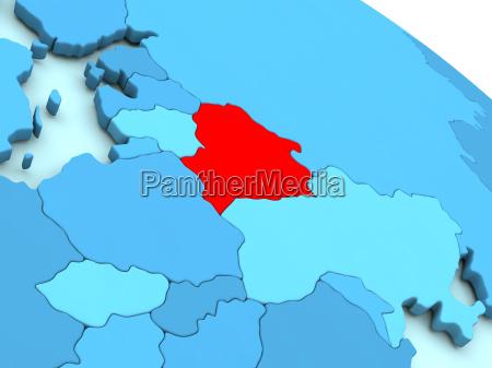 belarus in rot auf blau globus