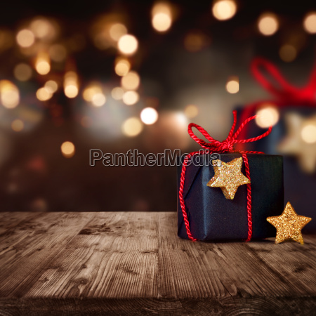 christmas package with festive background