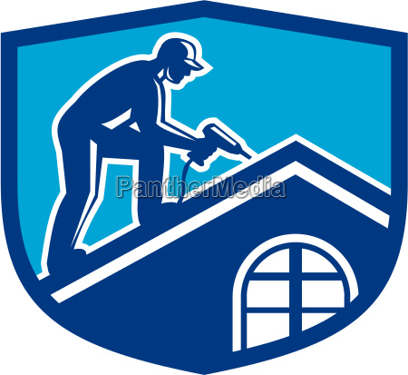 roofer bauarbeiter arbeitsschild retro