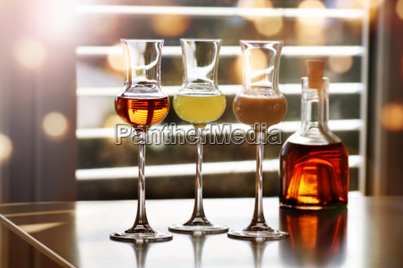 whisky and liqueur in front of