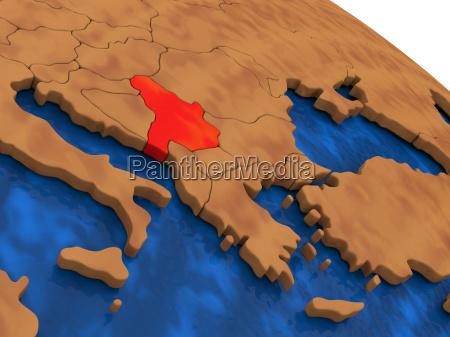 serbien auf holzkugel