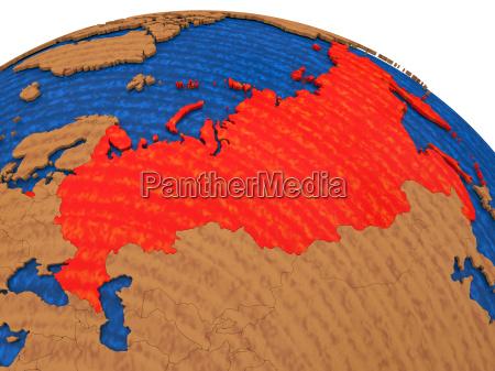 russland auf holz globus