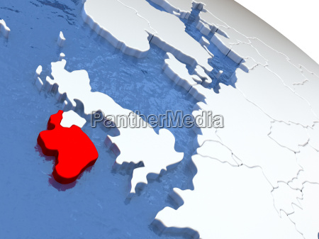 ireland on globe