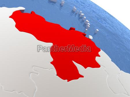 venezuela on globe