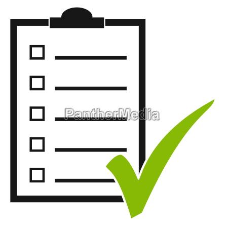 klemmbrett mit haken checklist