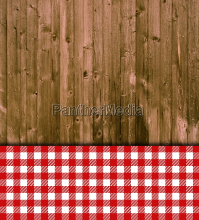 wooden boards with tablecloth red white
