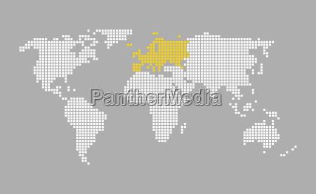 moderne pixel weltkarte grau orange europa