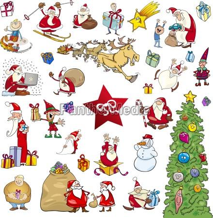 Comic Bilder Weihnachten.Comic Weihnachten Elemente Festlegen Lizenzfreies Bild 19145681