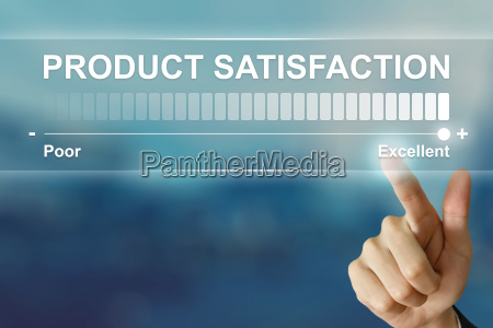 business hand clicking excellent product satisfaction