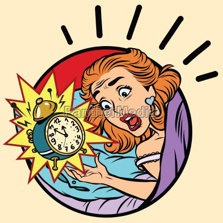 comic maedchen wachte von dem alarm