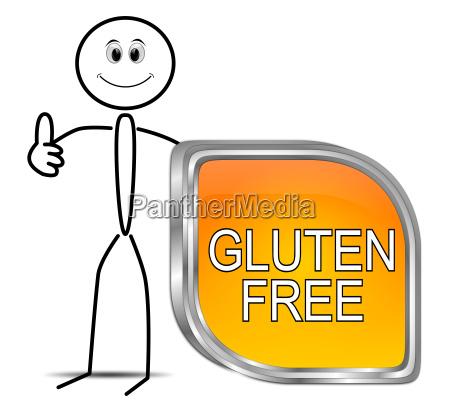 stickman mit gluten free button 3d