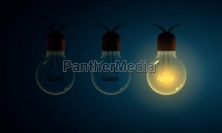 vector illustration of old lightbulbs idea