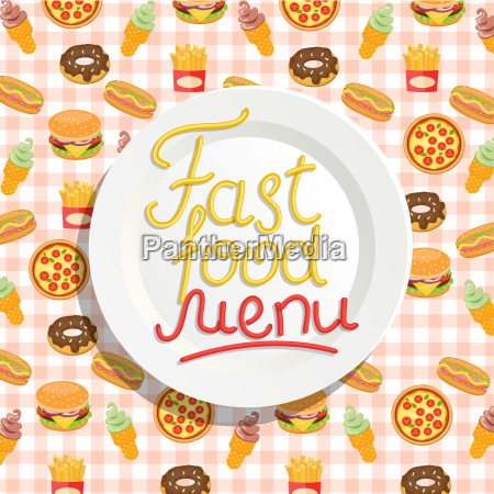 fast food menu with plate