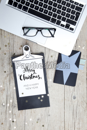 business office workplace with christmas decoration