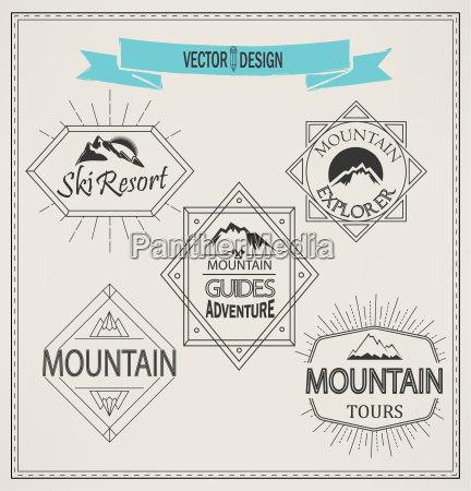vector mountain logos and emblems
