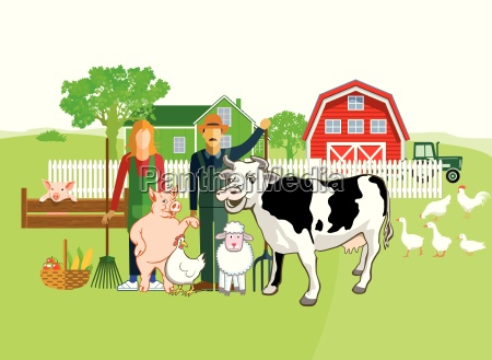 farm animals with farmers