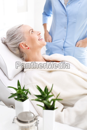 a woman at the beautician during