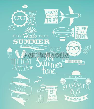 sommerferien entwerfen elemente auf blauem hintergrund