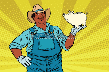 african american farmer with a pig