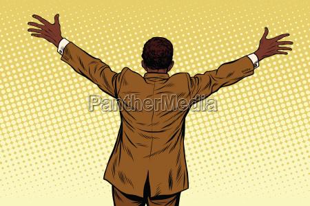 back african american businessman open hands