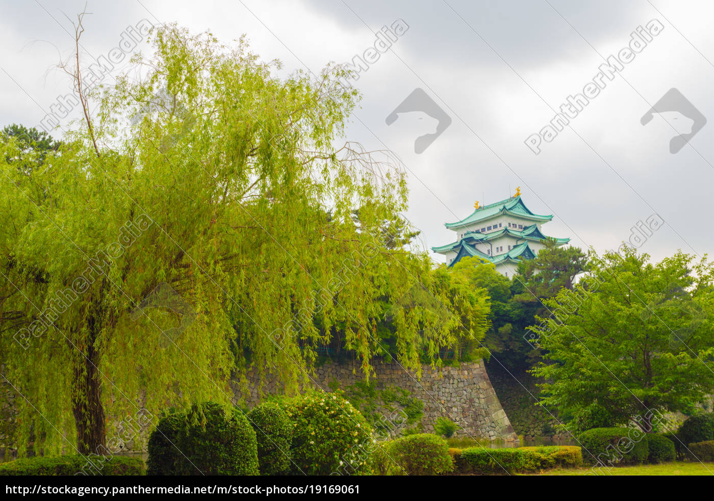 nagoya, castle, high, above, rampart, trees - 19169061