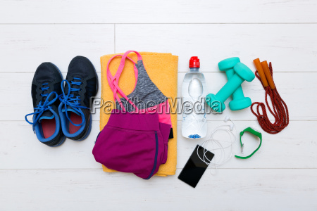 draufsicht auf fitness workout elemente auf